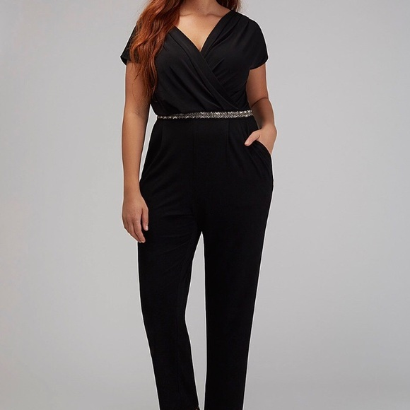 fb537276349 Lane Bryant Pants - Lane Bryant black beaded detail jumpsuit NEW